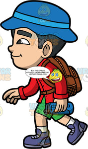 Young Kevin Going On A Hike. An Asian boy wearing green shorts, a long sleeve red shirt, purple hiking boots, a brown backpack, and a blue sun hat, holding a water bottle in one hand while walking along a hiking trail