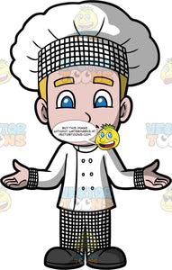Young Matthew Dressed Up As A Chef. A young boy wearing black and white checkered pants, a white chef's jacket, and a black and white chef's hat, standing with his arms out