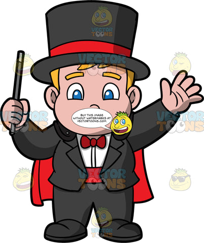 Young Sam Dressed Up As A Magician. A chubby boy wearing a black pants, a black jacket, white shirt, red bow tie, red cummerbund, black and red top hat, and a red cape, standing and holding a magicians wand in his hand