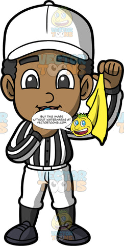 Young Jimmy Dressed As A Referee. A black boy wearing white pants, black socks, black shoes, a white and black striped referee shirt, and a white hat, standing with a whistle in his mouth, and holding a yellow flag in his hand