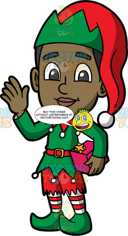 Young Calvin Dressed Up A Christmas Elf. A black boy wearing a green tunic with a red collar, and red belt, red shorts, red and white striped tights, pointy green elf shoes, and a green and red elf hat