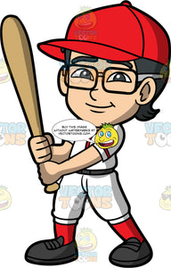 Young Simon Dressed As A Baseball Player. An Asian boy wearing white with red baseball uniform, eyeglasses, and a red baseball hat, standing and holding a baseball bat in his hands