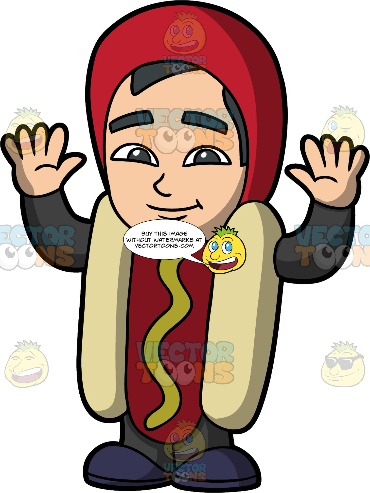 Young Kevin Dressed Up As A Hot Dog. An Asian boy dressed up for Halloween in a full body costume consisting of a bun and sausage with mustard on the sausage