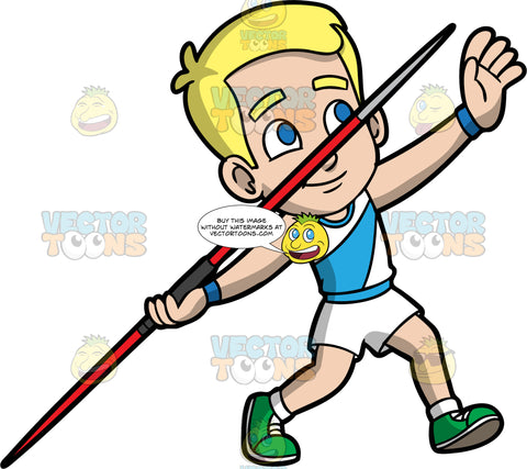 Young Bob Getting Ready To Throw A Javelin. A blonde boy wearing white shorts, a blue and white shirt, and green running shoes, pulls his arm back and gets ready to throw the javelin in his hand