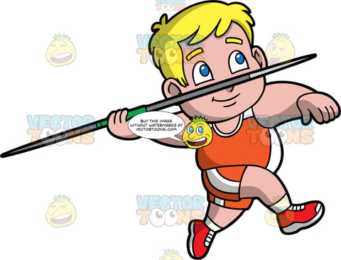 Young Sam Ready To Throw A Javelin. A chubby blonde boy wearing orange and white shorts, an orange and white tank top, and red running shoes, competing in a javelin throwing competition