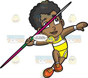 Young Jimmy Competing In The Javelin Throw. A young black boy wearing yellow shorts, a yellow with white tank top, and orange running shoes, running with a javelin and preparing to throw it