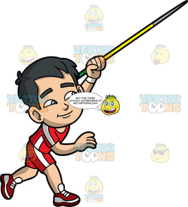 Young Kevin Throwing A Javelin. An Asian boy wearing red shorts with a white stripe down the sides, a red with white shirt, and red running shoes, throwing the javelin in his hand