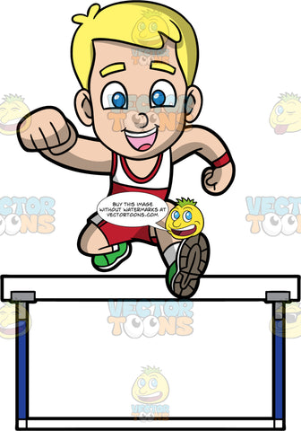Young Bob Hurdle Jumping. A blonde boy wearing red with white running shorts, a red and white tank top, and green running shoes, jumping over a hurdle