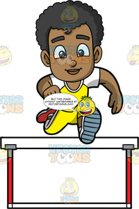 Young Jimmy Jumping Over A Hurdle. A black boy wearing yellow track pants, a yellow and white shirt, and red running shoes, concentrates as he jumps over a hurdle
