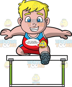 Young Sam Jumping Hurdles. A chubby blonde boy wearing red with blue shorts, a red with blue tank top, and running shoes, smiles as he jumps over a hurdle during a race
