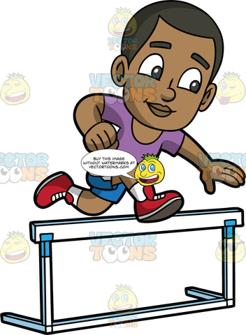 Young Calvin Jumping Hurdles In A Race. A young black boy wearing blue shorts, a purple shirt, and red running shoes, leaping over a hurdle during a track and field competition
