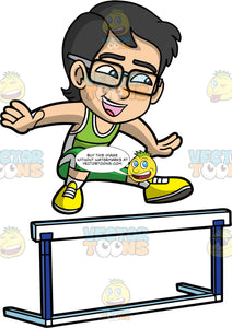 Young Simon Participating In A Hurdling Competition. An Asian boy wearing green pants, a lime green tank top, and yellow running shoes, smiles as he leaps over a hurdle in a race