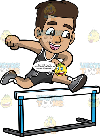 Young Gabriel Jumping Over A Hurdle. A Hispanic boy wearing dark gray running shorts, a matching dark gray tank top, and light gray running shoes, smiles as he jumps over a hurdle