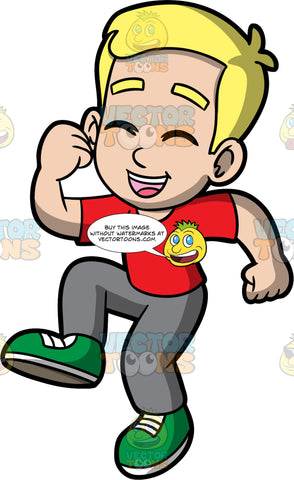 Young Bob Jumping Up And Laughing. A blonde boy wearing gray pants, a red t-shirt, and green shoes, jumping up with his eyes closed, and mouth wide open in laughter