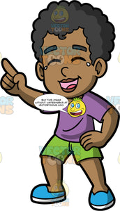 Young Jimmy Pointing And Laughing. A black boy wearing green short, a purple t-shirt, and blue shoes, laughing so hard that tears are coming out of his eyes