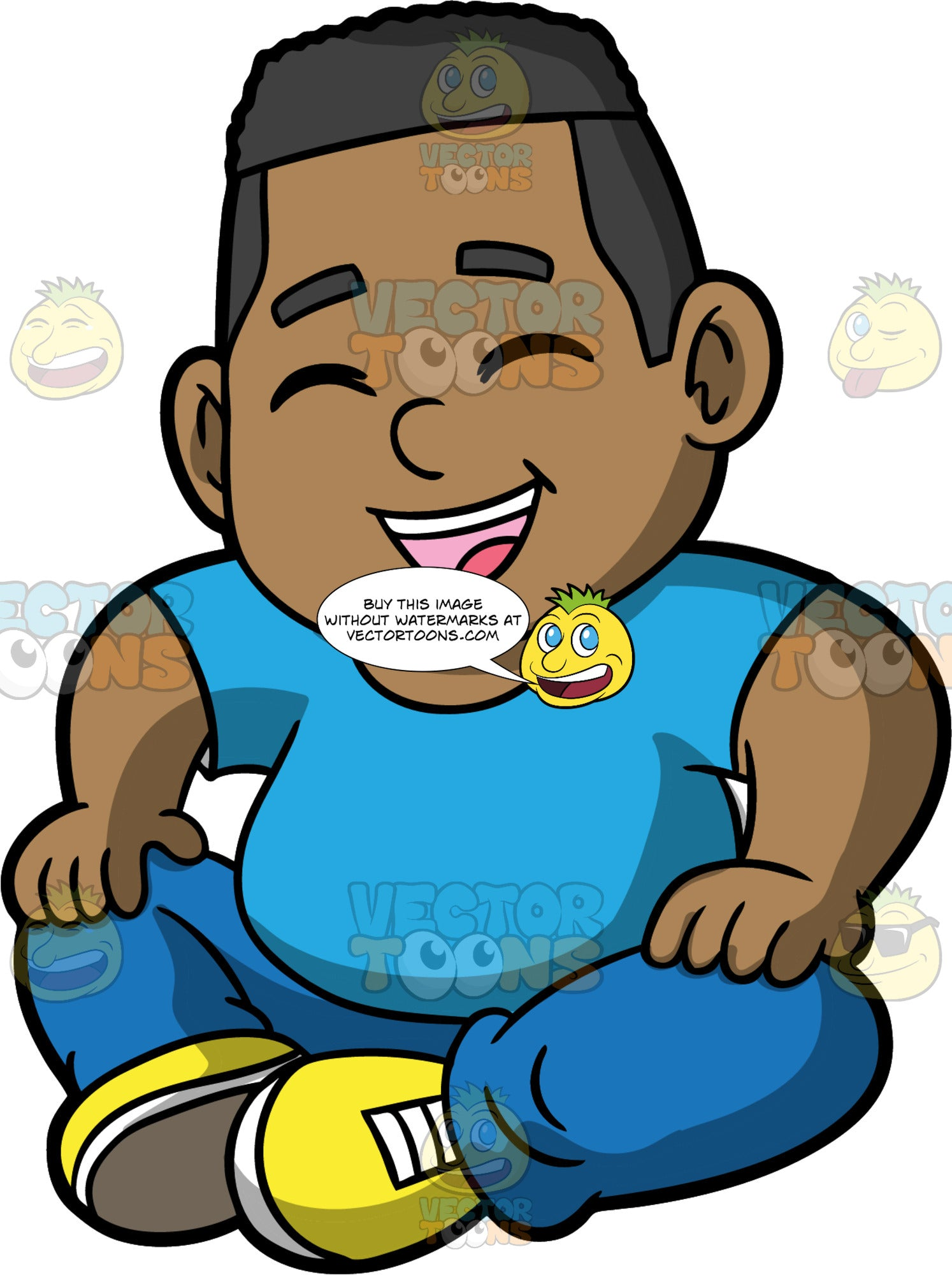 Young James Sitting On The Floor Laughing. A black boy wearing blue pants, a blue shirt, and yellow shoes, sitting on the floor with his eyes closed as he laughs at something funny