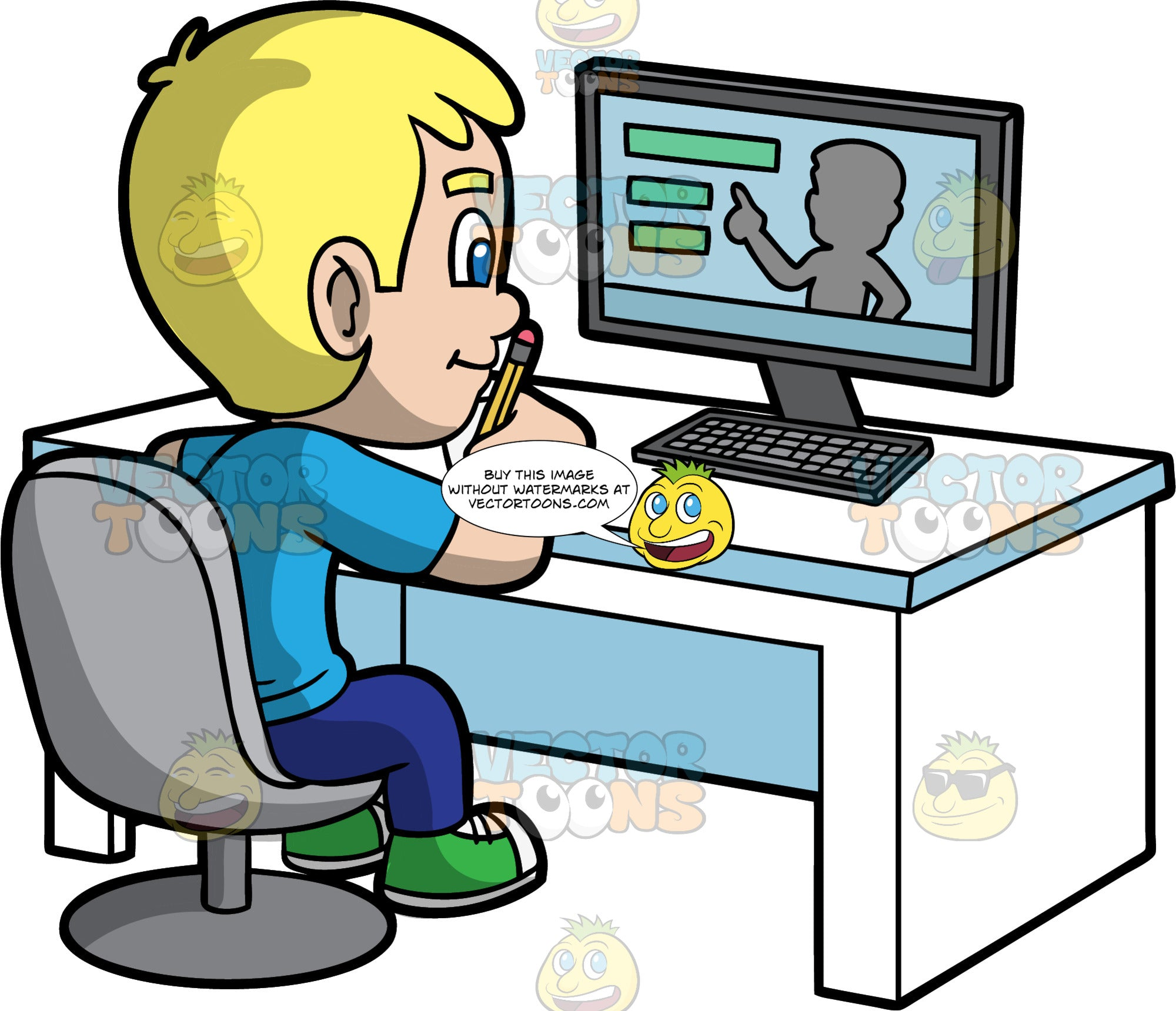 Young Bob Learning Online. A blonde boy wearing dark blue pants, a blue shirt, and green sneakers, sitting behind a white desk with a computer on it, watching his teacher do a lesson online
