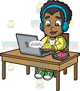 Young Jimmy Doing An Online Lesson. A black boy wearing a yellow jacket over a white shirt, gray pants, and green sneakers, sitting at a desk and typing something on his laptop