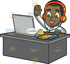 Young Calvin Doing Classes Online. A black boy wearing a long sleeve white shirt and orange headphones, sitting at a desk with a laptop on it, raising his hand to answer a question during an online lesson
