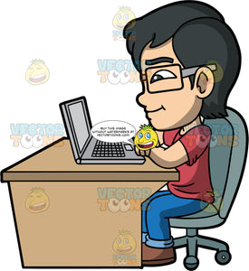 Young Simon Taking A Class Online. An Asian boy wearing blue jeans, a t-shirt, and brown shoes, sitting at a brown desk, watching a class on his laptop