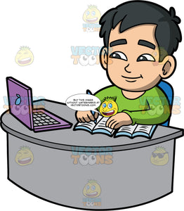 Young Kevin Learning Online . An Asian boy wearing a long sleeve green shirt, sitting at a desk with a purple laptop on it, taking notes while learning online