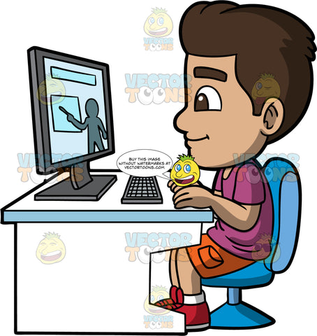 Young Gabriel Watching A Class On His Computer. A Hispanic boy wearing orange shorts, a purple shirt, and red shoes, sitting on a blue chair at a white desk, watching his teacher do a lesson online