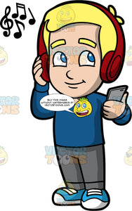 Young Bob Listening To Music On Blue Tooth Headphones. A blonde boy wearing gray pants, a long sleeve blue shirt, and blue sneakers, standing and listening to music on his red blue tooth headphones