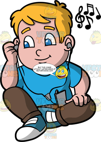 Young Sam Sitting Down Listening To Music. A boy wearing brown pants, a blue shirt, and blue sneakers, sitting on the floor and listening to music through headphones