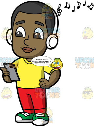 Young Calvin Listening To A Song On His Headphones. A black boy wearing red pants, a yellow shirt, and green shoes, standing and holding a cell phone while listening to some music