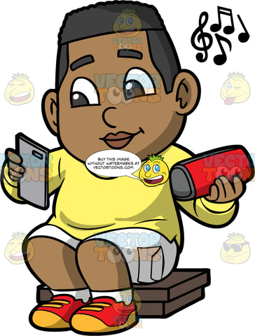 Young James Listening To Music On A Portable Speaker. A black boy wearing white shorts, a yellow shirt, and red and yellow shoes, sitting down and listening to music on a blue tooth speaker