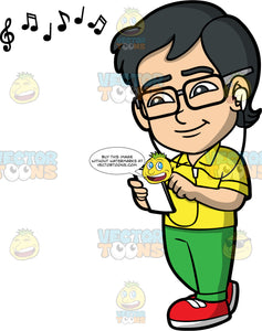 Young Simon Listening To Music Through Headphones. An Asian boy wearing green pants, a yellow shirt, red shoes, and eyeglasses, smiling while listening to music
