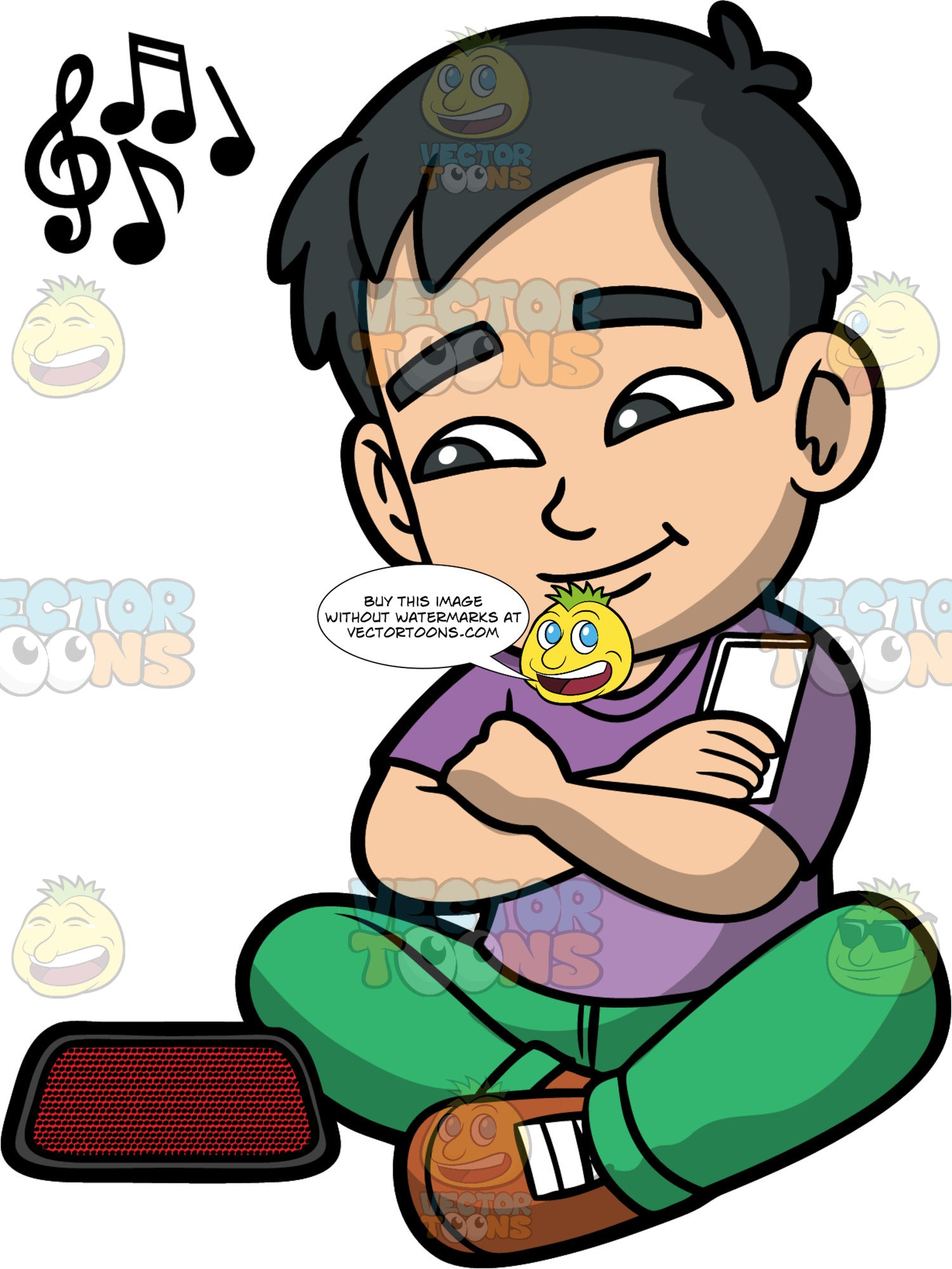 Young Kevin Listening To Music. An Asian boy wearing green pants, a purple shirt, and brown shoes, sitting down and listening to music on a blue tooth speaker