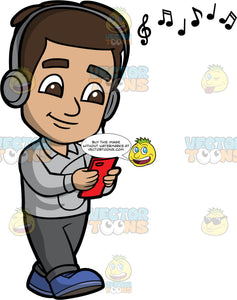 Young Gabriel Listening To Music On His Headphones. A Hispanic boy wearing dark gray pants, a light gray shirt, and blue shoes, holding a cell phone and listening to music on over the ear headphones
