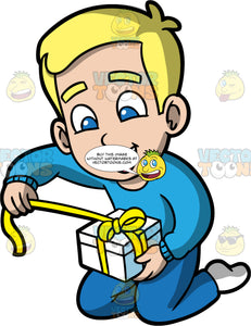 Young Bob Opening A Christmas Gift. A blonde boy wearing blue pants, a long sleeve blue shirt, and white socks, kneeling on the floor and pulling on a yellow ribbon wrapped around a white gift box