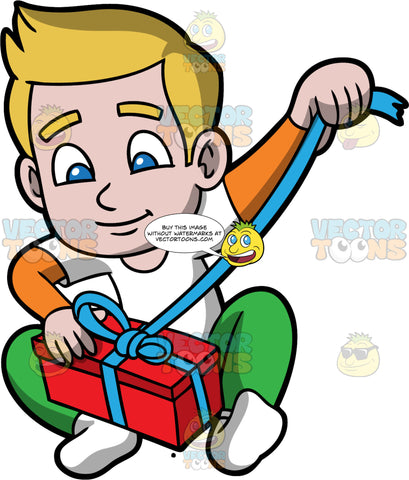 Young Matthew Opening A Christmas Present. A boy wearing green pants, a white t-shirt over a long sleeve orange shirt, and white socks, sitting on the floor and pulling on the blue ribbon wrapped around a red gift box
