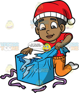 Young Jimmy Unwrapping A Christmas Gift. A black boy wearing orange pants, a red shirt, white socks, and a red and white hat, kneeling on the floor and pulling blue wrapping paper off a big box