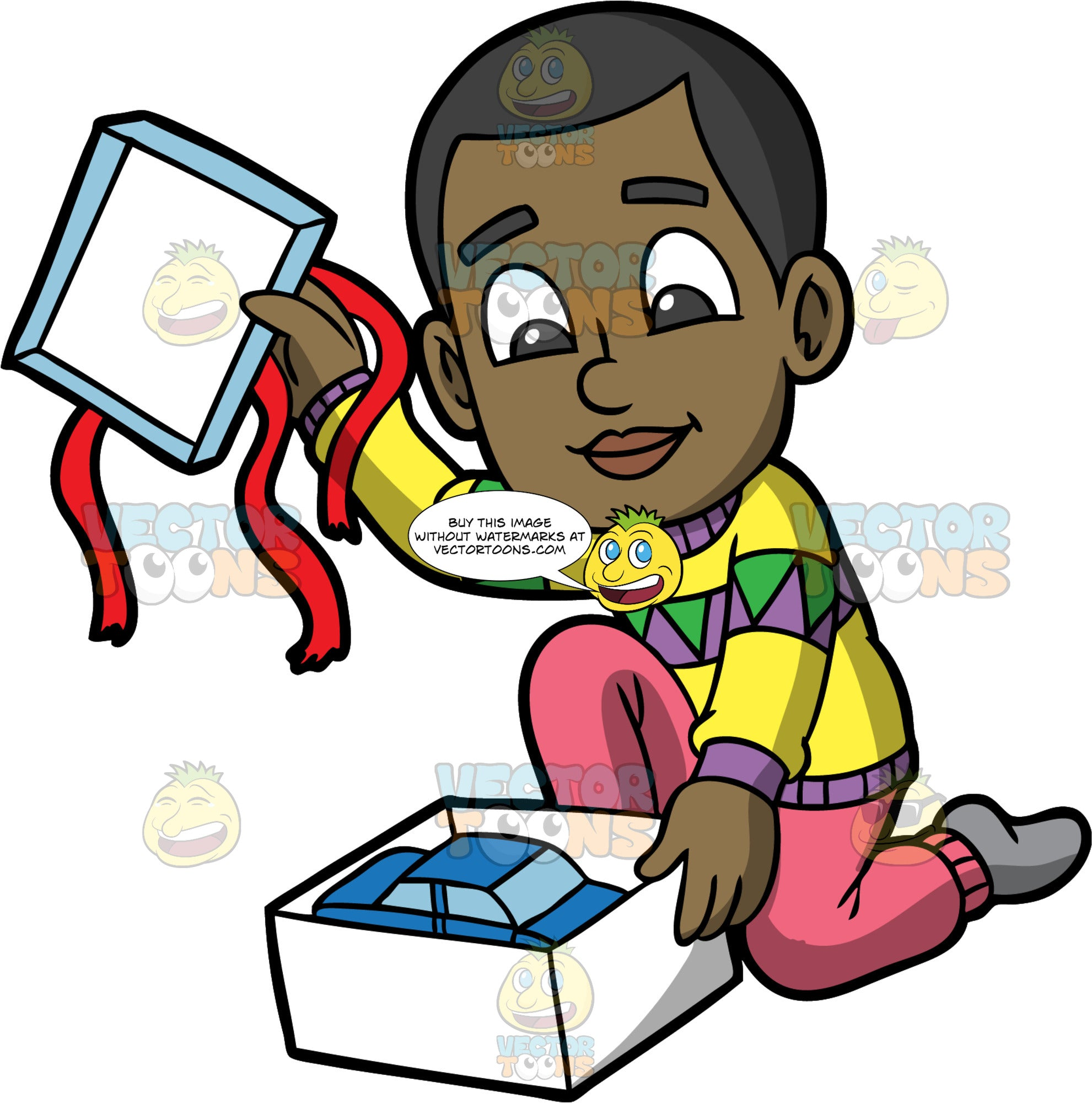 Young Calvin Opening A Gift Box. A black boy wearing pink pants, a yellow, purple and green sweater, and gray socks, kneeling down and taking the lid off a gift box to reveal a toy car inside