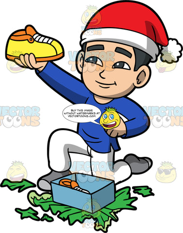 Young Kevin Taking A Gift Out Of A Box. An Asian boy wearing white pants, a blue shirt, gray socks, and a red and white Santa hat, admiring the new shoes he just received as a gift