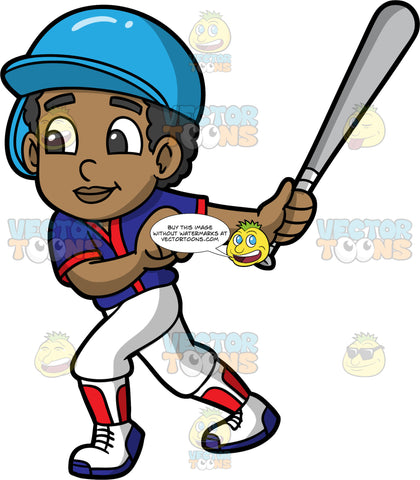 Young Jimmy Playing Baseball. A young African American boy wearing a baseball uniform, cleats, and a protective helmet, holding onto a baseball bat after just hitting a ball