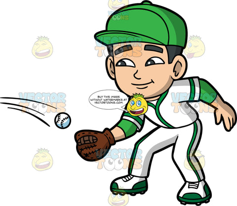 Young Kevin Preparing To Catch A Baseball . A young Asian boy wearing a white and green baseball uniform, cleats, and a green baseball cap, holds out his baseball glove so that he can catch a ball coming towards him
