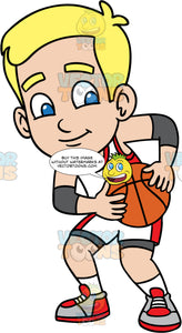 Young Bob Playing A Game Of Basketball. A young blonde boy wearing white with red shorts, a matching tank top, white socks, and gray and red shoes, holding onto a basketball to keep it away from the opposing team