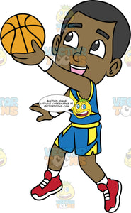 Young Calvin Having Fun Playing Basketball. A young black boy wearing blue with yellow shorts, a matching tank top, white socks, and red running shoes, smiles as he gets ready to shoot a ball into the net