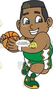 Young James Playing Basketball. A young black boy wearing green with white and yellow shorts, a matching tank top, white socks, and green and yellow running shoes, smiles and holds onto a basketball