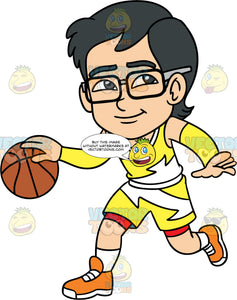 Young Simon Dribbling A Basketball. A young Asian boy wearing yellow with white shorts, a matching tank top, white socks, orange running shoes, and eyeglasses, dribbles the ball down the court