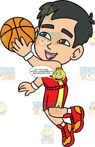 Young Kevin Jumping Up To Shoot The Ball. A young Asian boy wearing red with yellow shorts, a matching tank top, white socks, and red and orange sneakers, holds a basketball in one hand and gets ready to throw it into the net