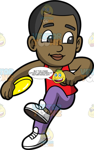 Young Calvin Getting Ready To Toss A Frisbee. A black boy wearing purple pants, a red tank top, and white shoes, getting ready to throw the yellow frisbee in his hand
