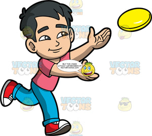 Young Kevin Catching A Yellow Frisbee. An Asian boy wearing blue pants, a pink shirt, and red sneakers, reaching his arms out to catch a frisbee coming towards him