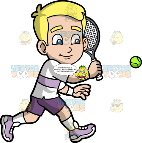 Young Bob Playing A Game Of Tennis. A young blonde boy wearing purple shorts, a white shirt with a lavender stripe across the middle, white socks, and lavender shoes, holds a tennis racquet and prepares to hit an approaching ball