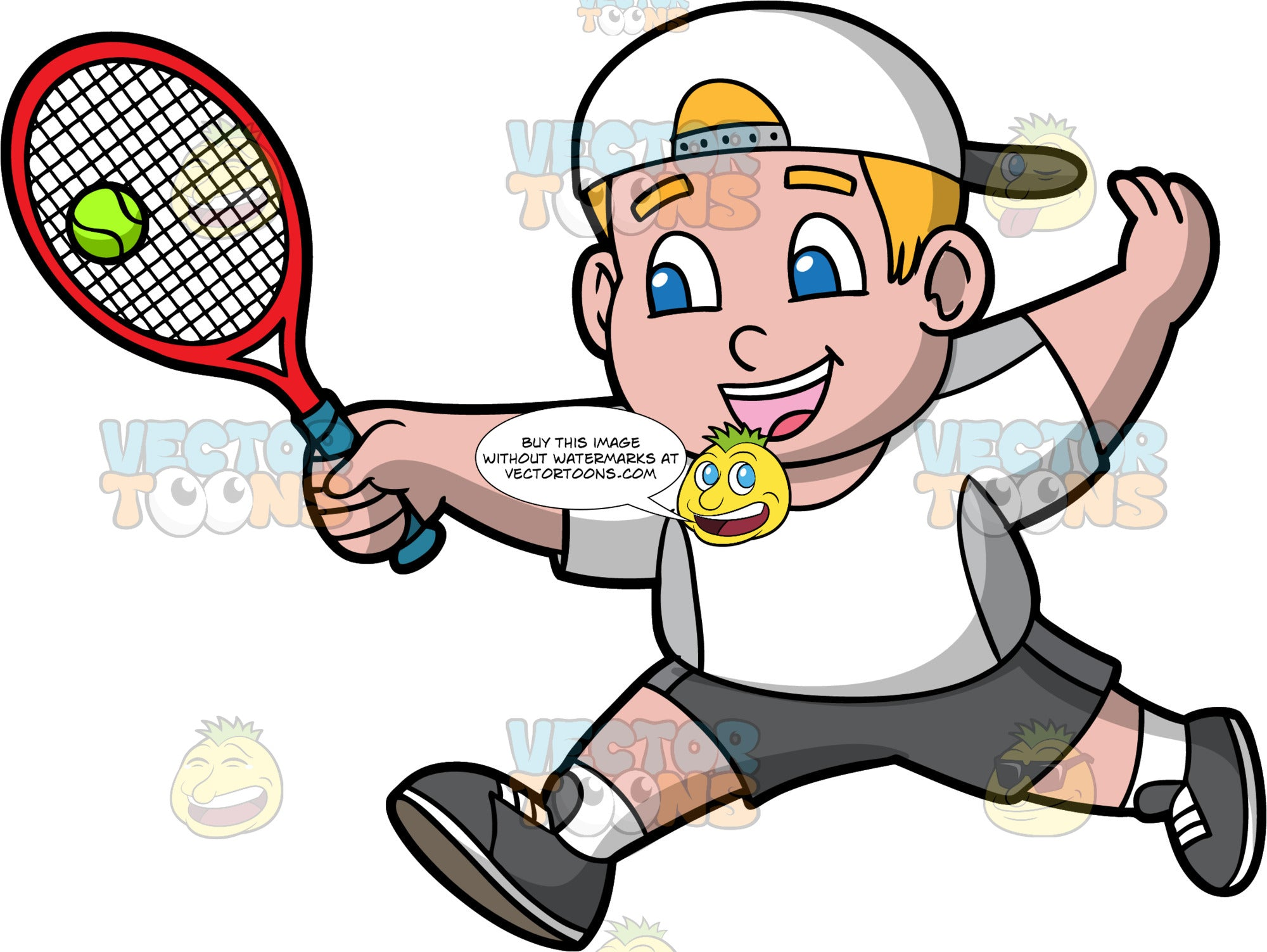 Young Sam Hitting A Tennis Ball. A young boy wearing dark gray shorts, a white with gray shirt, white socks, dark gray running shoes, and a white baseball hat worn backwards, reaches his arm out and hits a ball with the tennis racquet in his hand