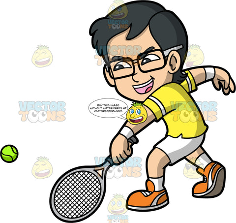Young Simon Hitting A Tennis Ball With His Racquet. A young Asian boy wearing white shorts, a yellow shirt, white socks, orange shoes, and eyeglasses, aggressively hits a tennis ball with his racquet